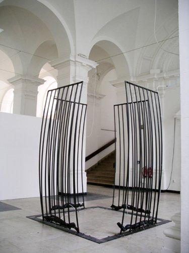 Jenny Brockmann: 'Cell', Steel, Tubes, Air, 2007, photo: Jenny Brockmann,©the artist