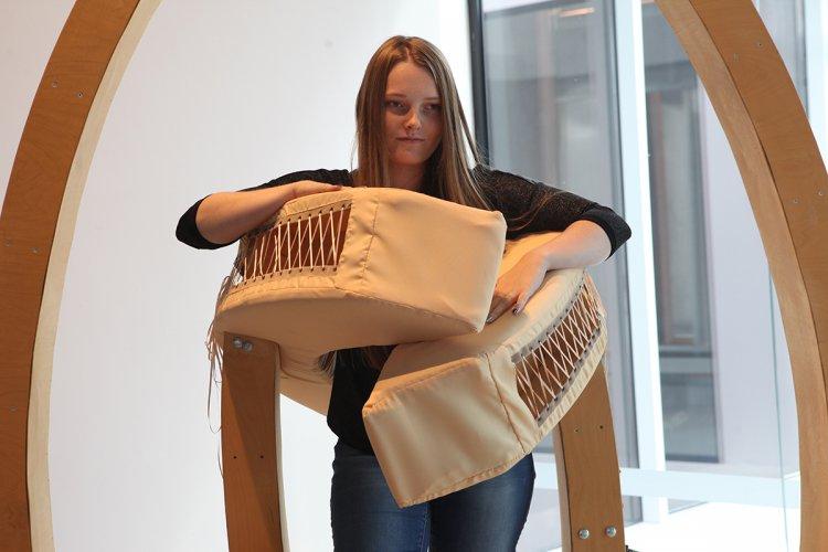 Jenny Brockmann: 'Hug', Wood, Textile, Pneumatic Cylinders, 2007, photo: Marcin Kucewics,©the artist