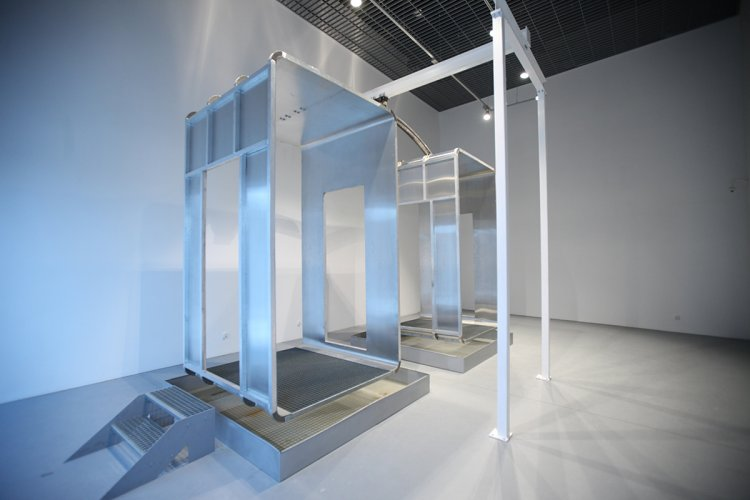 Jenny Brockmann: 'Out of Balance', Aluminum, Steel, Water, ECG, 2012, photo: Marcin Kucewics, © the artist