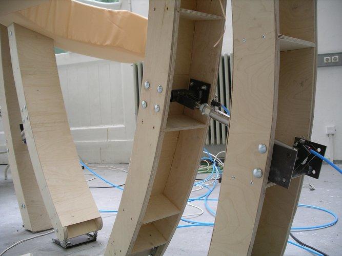 Jenny Brockmann: 'Hug', Wood, Textile, Pneumatic Cylinders, 2007, photo: Jenny Brockmann,©the artist