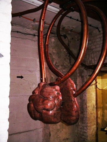 Jenny Brockmann: 'Shelter', Red Granite, Copper, Motor, 2005, photo: Jenny Brockmann,©the artist