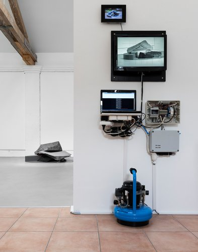 Jenny Brockmann: 'Stone',  Hohwald Granite Stone, Air Cushion, Air, Controller, Screens, 2012-2014, photo: Bernd Hiepe, ©the artist