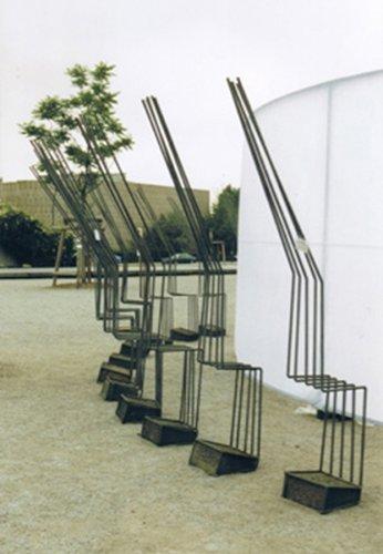 Jenny Brockmann: 'Roundel', Steel, Stone, Canvas, Projector, 2000, photo: Jenny Brockmann, ©the artist