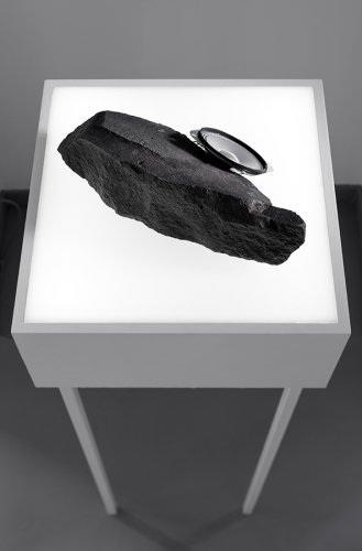 Jenny Brockmann: 'STONE-201-07-07-02', Icelandic Basalt, Speaker, 2017, photo: Bernd Hiepe, © the artist