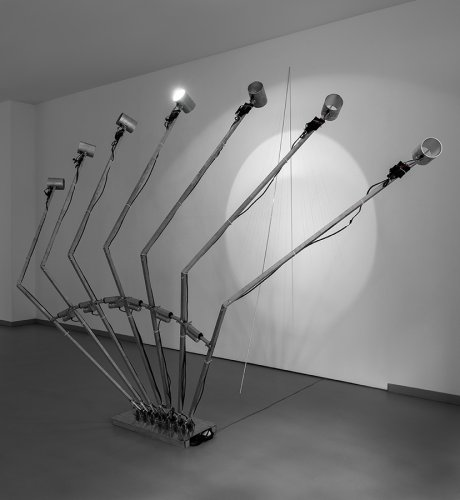 Jenny Brockmann: 'Sundial 20-17-040-1', Aluminum, Motors, Light, Controller, 2017, photo: Bernd Hiepe, © the artist