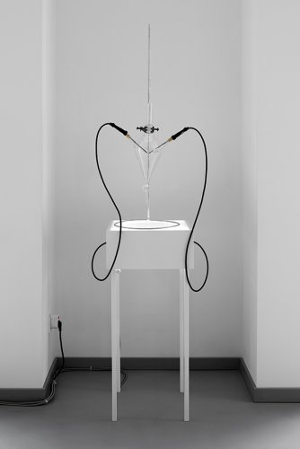 Jenny Brockmann: 'TIME-201-17-111', Glass, Stand, Spark, Cables, Light, 2017, photo: Bernd Hiepe, © the artist