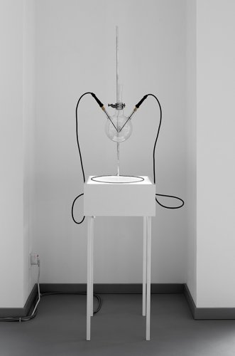 Jenny Brockmann: 'TIME-201-17-888', Glass, Stand, Spark, Cables, Light, 2017, photo: Bernd Hiepe, © the artist
